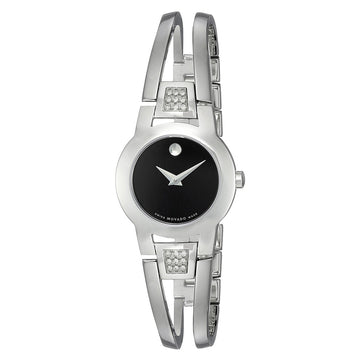 Movado 0604982 Women's Amorosa Black Dial Stainless Steel Bangle Bracelet Diamond Watch