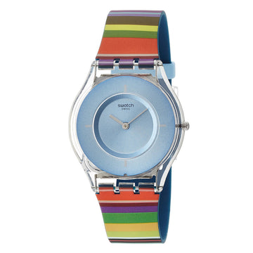 Swatch SFE107 Women's Voice of Freedom Pretty Ladder Light Blue Dial Multicolor Silicone Strap Watch