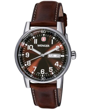 Wenger 70162 Men's Swiss Made Brown Leather Strap Watch