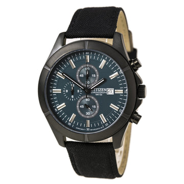 Citizen AN3525-01L Men's Blue Dial Black Ion Plated Steel Nylon Strap Chronograph Watch