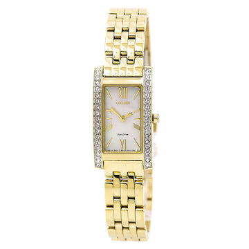 Citizen EX1472-56D Women's Yellow Steel Bracelet Silhouette Crystal Mother of Pearl Dial Watch
