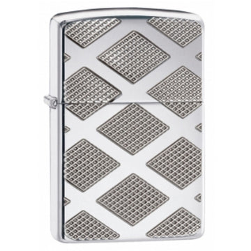 Zippo 28637 High Polish Chrome Carved Diamond Armor Windproof Pocket Lighter