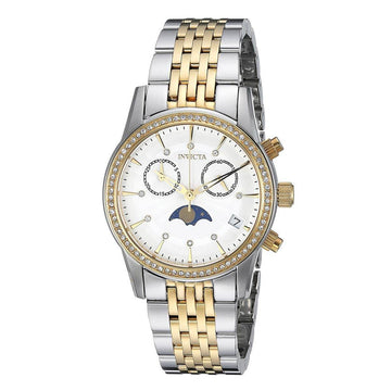 Invicta Women's Chronograph Watch - Angel Silver Dial Two Tone Steel Crystal | 22506