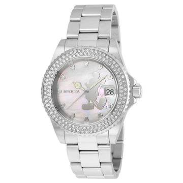 Invicta Women's Mother of Pearl Dial Watch - Disney Steel Bracelet Crystal | 22727