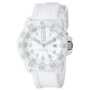 Luminox 3057.WO Men's Navy Seal Colormark White Dial White Silicone Strap Dive Watch