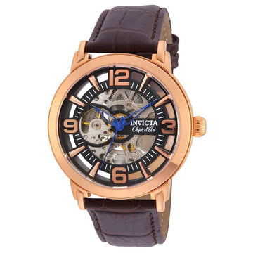 Invicta Men's Automatic Watch - Objet D Art Black & Silver Semi-Skeleton Dial | 22609