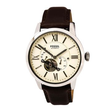 Fossil Men's Automatic Watch - Townsman Cream Dial Brown Leather Strap | ME3064