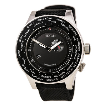 Nixon A321000 Men's The Passport Black Nylon & Leather Strap World Time Black Dial Swiss Watch