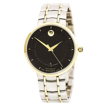 Movado 0606916 Men's 1881 Automatic Two Tone Yellow Gold Steel Black Dial Date Watch