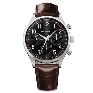 William L. 1985 WLAC03NRCM Men's Calendar Vintage Style Brown Leather Strap Black Dial Watch