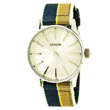 Nixon A4262083 Men's Sentry 38 Silver Tone Sunray Dial Nylon Strap Quartz Watch