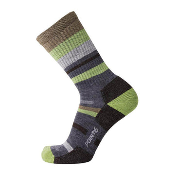 Point6 Socks - Hiking Mixed Stripe Gray Light Crew | 2566-200