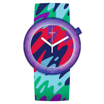 Swatch PNP101 Men's New POP Popthusiasm Multicolored Dial Swiss Quartz Silicone Strap Watch
