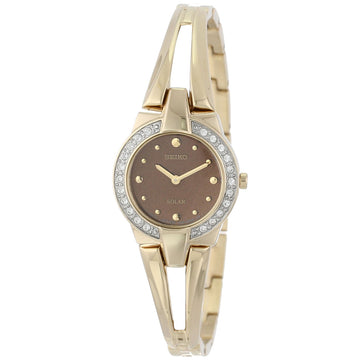 Seiko SUP208 Women's Tressia Solar Brown Dial Gold Plated Steel Quartz Watch