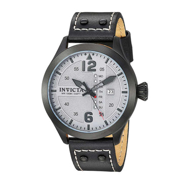Invicta Men's Strap Watch - I-Force Quartz Grey Dial Black Leather Day Date | 22188