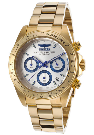 Invicta 17312 Men's Speedway Chronograph Silver Dial Gold Tone Steel Bracelet Dive Watch