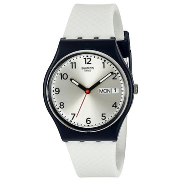 Swatch GN720 Men's Tech-Mode White Delight Silver Dial White Silicone Strap Swiss Quartz Watch