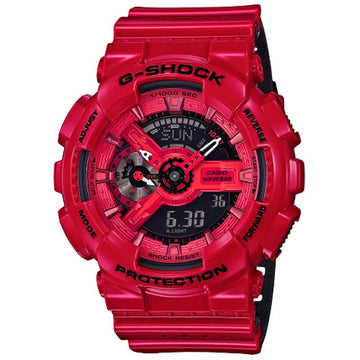 Casio Men's World Time Watch - G-Shock Red Resin Strap Ana-Digital Dial | GA110LPA-4A