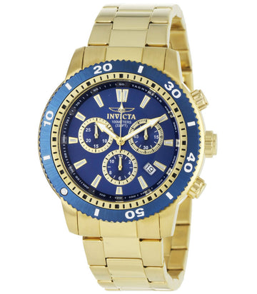 Invicta Men's Chronograph Watch - Specialty Quartz Blue Dial Yellow Gold Steel | 1205