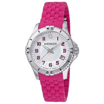 Wenger 0121.101 Women's Squadron Pink Rubber Strap Swiss Quartz White MOP Dial Date Watch