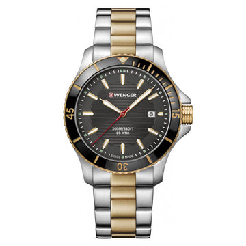 Wenger Men's Two Tone Bracelet Watch - Seaforce Black Dial Dive | 01.0641.127