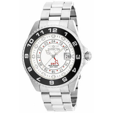 Invicta 17139 Men's White Dial Swiss Quartz Pro Diver GMT Steel Bracelet Date Watch