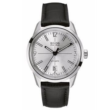 Bulova Accu-Swiss Men's Automatic Watch - Murren Leather Strap Silver Dial | 63B176