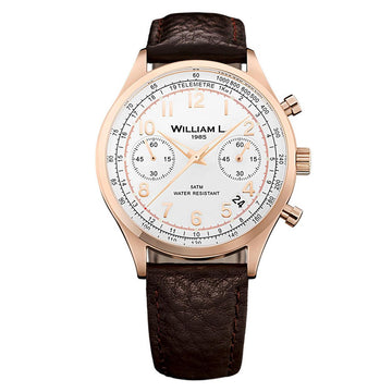 William L. 1985 WLOR01BCORBM Men's Chronographs Vintage Style White Dial Brown Leather Strap Watch