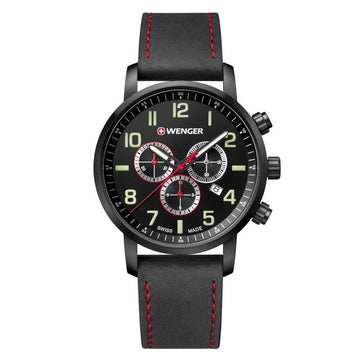 Wenger 01.1543.104 Men's Attitude Chrono Leather Band Watch