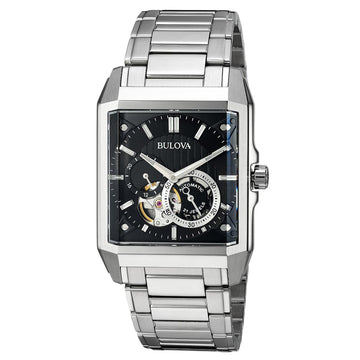 Bulova Men's Automatic Stainless Steel Watch - Semi-Skeleton Black Dial | 96A194