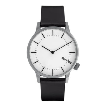 Komono Unisex Strap Watch - Winston Regal Anthracite Black Leather | KOM-W2268