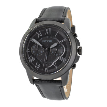 Fossil FS5132 Grant Black Leather Strap Men's Chrono Watch