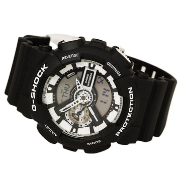Casio GA110BW-1A Men's G-Shock Black Resin Strap World Time Ana-Digi Grey Dial Quartz Dive Watch