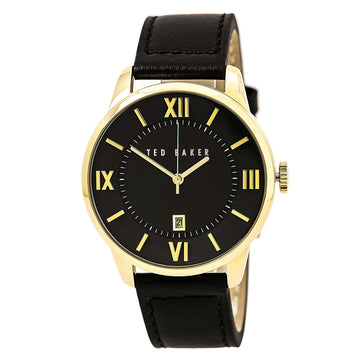Ted Baker 10015153 Men's Dress Sport Quartz Black Leather Strap Black Dial Date Watch