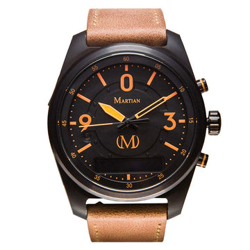 Martian MVR03PL031 Men's PTL02 mVoice Light Brown Leather Strap Black Ana-Digi Dial Smartwatch