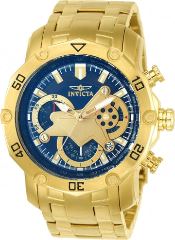 Invicta 22765 Men's Pro Diver Blue & Gold Tone Dial Yellow Gold Steel Bracelet Chronograph Watch