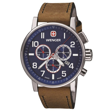 Wenger 01.1243.101 Men's Commando Tan Leather Strap Chronograph Blue Dial Swiss Quartz Date Watch