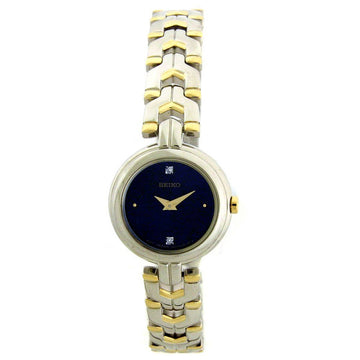 Seiko SUJF43 Women's Dress Blue Dial Two Tone Yellow Gold Steel Bracelet Diamond Watch