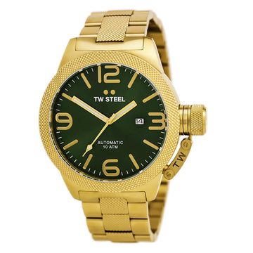 TW Steel CB226 Men's Canteen Bracelet Automatic Green Sunray Dial Yellow Gold Steel Date Watch
