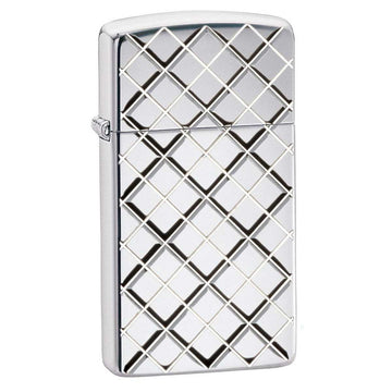 Zippo Windproof Pocket Lighter - Slim Armor Argyle High Polish Chrome | 29186