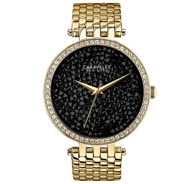 Caravelle 44L121 Womens Crystal New York Black Fabric Dial Gold Tone Steel Watch