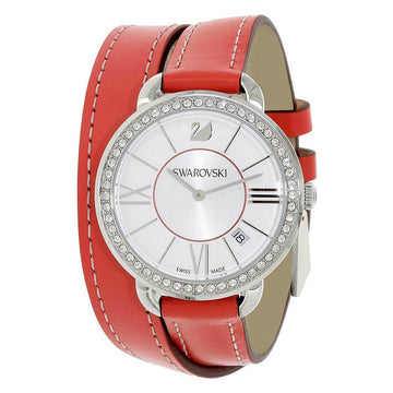 Swarovski Women's Strap Watch - Aila Crystal Silver Dial Red Berry Leather | 5095942
