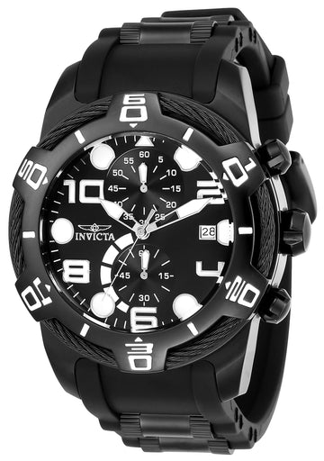 Invicta 24220 Men's Bolt Chronograph Black Dial Black Steel & Silicone Strap Watch