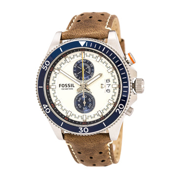 Fossil CH2951 Men's Leather Strap Quartz Wakefield Sport Chrono Cream Dial Date Watch