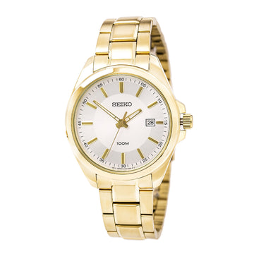 Seiko SUR064 Men's Silver Tone Dial Yellow Gold Steel Bracelet Watch