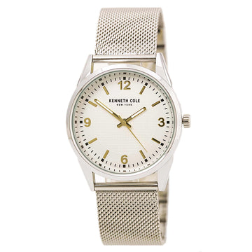 Kenneth Cole 10030781 Men's Steel Mesh Bracelet Quartz Cream Dial