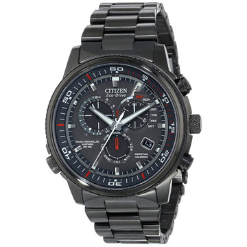 Citizen AT4117-56H Men's Nighthawk A-T Eco-Drive Grey Dial Black IP Steel Alarm Chrono Dive Watch