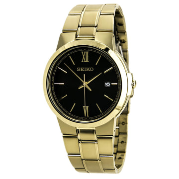 Seiko SGEG48 Men's Classical Yellow Gold Steel Bracelet Quartz Black Dial Date Watch
