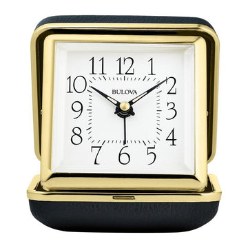 Bulova B6124 Vacationer White Dial Gold Tone & Black Clam Shell Alarm Table Clock