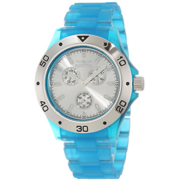 Invicta 1664 Men's Silver Dial Light Blue Frosted Plastic Anatomic Bracelet Watch